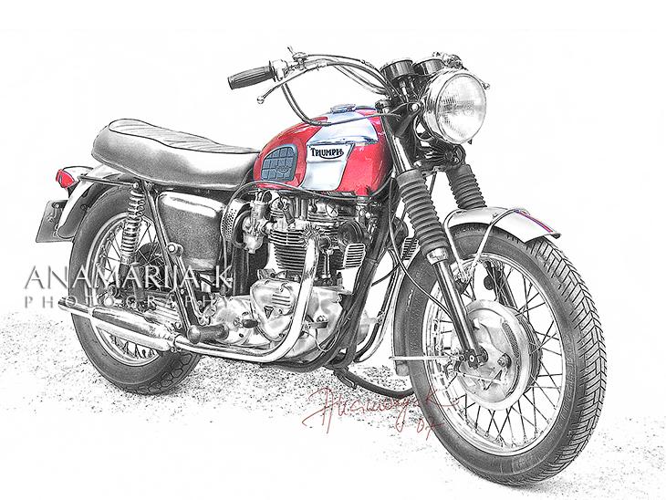 Triumph - fotografía por encargo, retoque estilo lápiz de mano