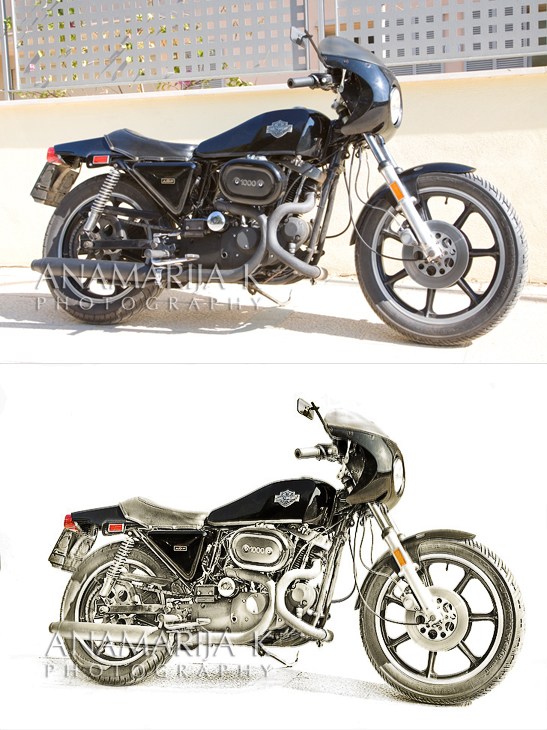 XLCR1000 1977 Harley Davidson Sportster - before and after