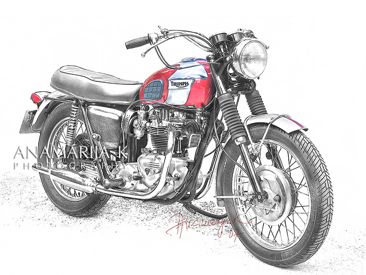 Triumph - commissioned, retouched in pencil style