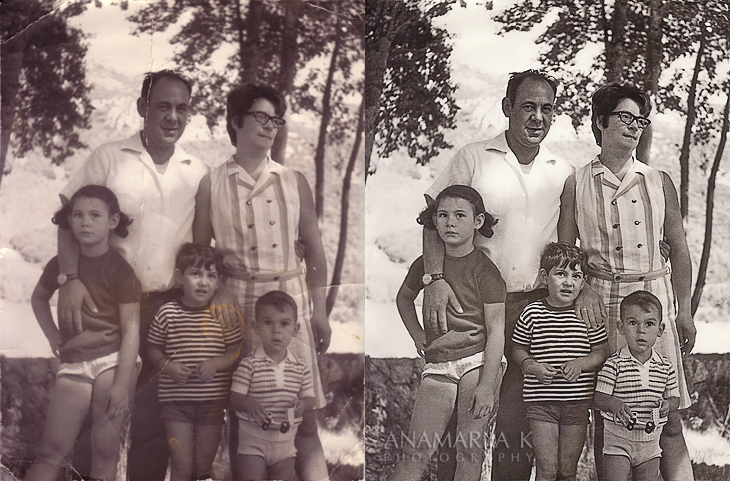 restoration of an old photograph - before and after